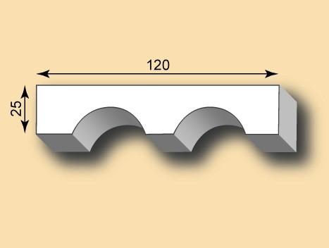 Stuckleiste aus Gips mit Kanneluren SL120-02